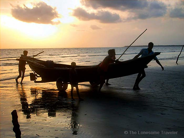 fishermen at dusk