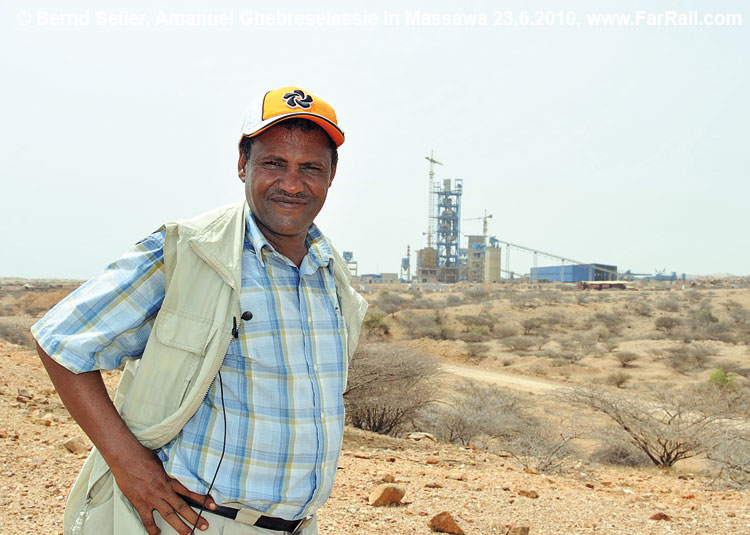 The General Manager of the railway in front of the cement factory near Massawa-Gadem